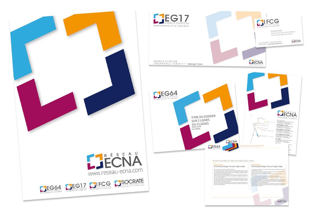 Création identité visuelle groupe Ecna BBou agence de communication web bayonne, anglet, biarritz,